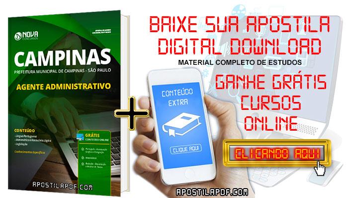 Apostila Concurso Prefeitura de Campinas 2019 Agente Administrativo PDF e Impressa Grátis Cursos Online