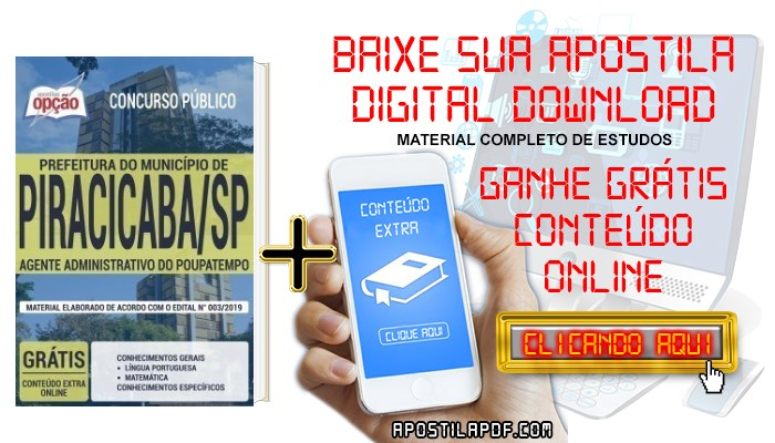 Baixar Apostila Concurso Prefeitura de Piracicaba 2019 PDF Agente Administrativo do Poupatempo