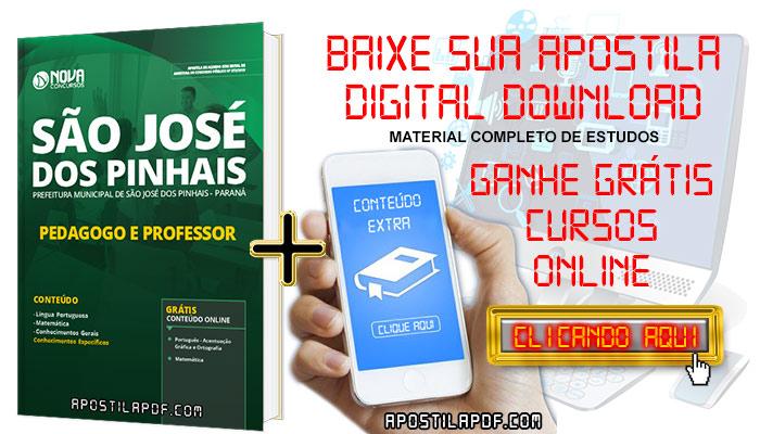 Apostila Concurso Prefeitura de São José dos Pinhais 2019 Professor e Pedagogo PDF e Impressa Grátis Cursos Online