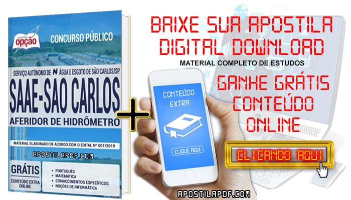 Baixar Apostila Concurso SAAE São Carlos 2019 PDF Aferidor de Hidrômetro