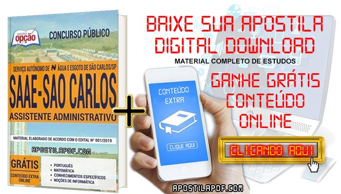 Baixar Apostila Concurso SAAE São Carlos 2019 PDF Assistente Administrativo