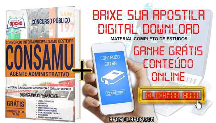 Baixe Apostila Concurso CONSAMU PR 2019 PDF Agente Administrativo
