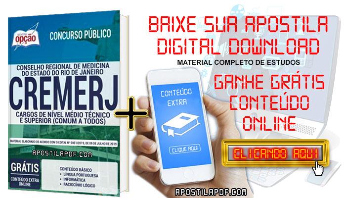 Baixe Apostila Concurso CREMERJ 2019 PDF Cargos de Nível Médio Técnico e Superior
