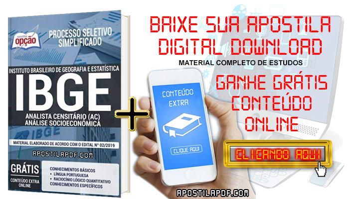 Baixe Apostila Concurso IBGE 2019 PDF Analista Censitário Análise Socioeconômica