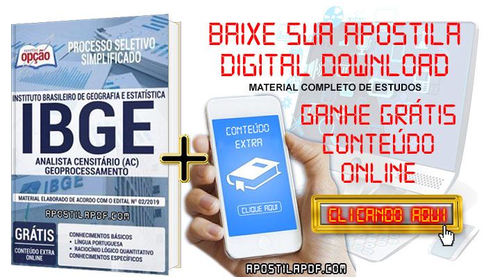 Baixe Apostila Concurso IBGE 2019 PDF Analista Censitário Geoprocessamento