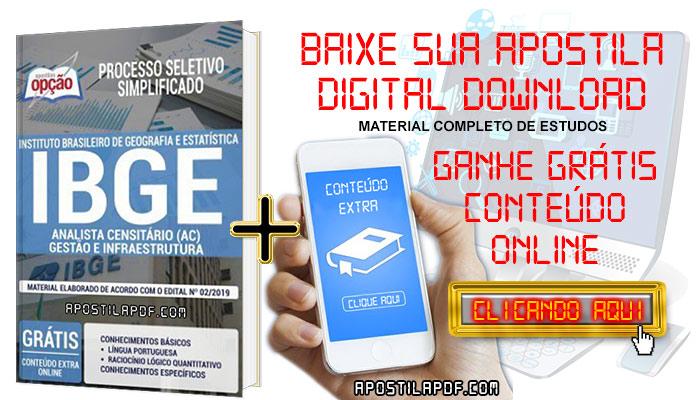 Baixe Apostila Concurso IBGE 2019 PDF Analista Censitário Gestão e Infraestrutura