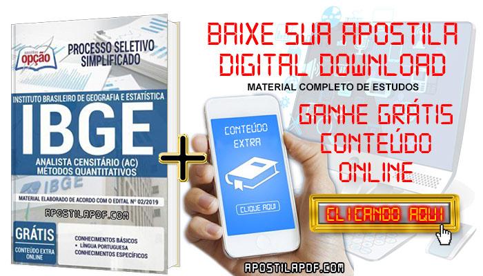 Baixe Apostila Concurso IBGE 2019 PDF Analista Censitário Métodos Quantitativos