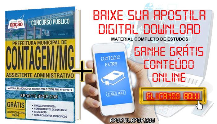 Baixar Apostila Concurso Prefeitura de Contagem 2019 PDF Assistente Administrativo