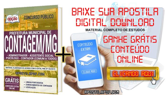 Baixar Apostila Concurso Prefeitura de Contagem 2019 PDF Administrador, Assistente Social, Psicólogo e Contador