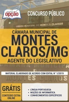 Apostila Câmara de Montes Claros 2019 Agente do Legislativo PDF Download Digital e Impressa