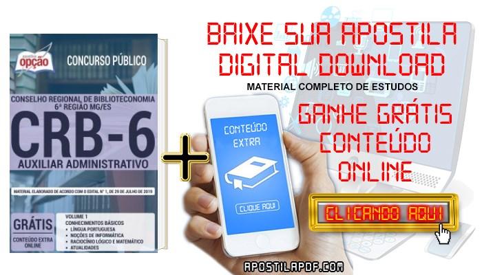 Baixar Apostila Concurso CRB 6ª Região 2019 PDF Auxiliar Administrativo