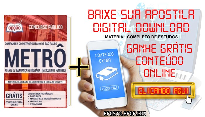 Baixar Apostila Concurso Metrô SP 2019 PDF Agente de Segurança Metroviária