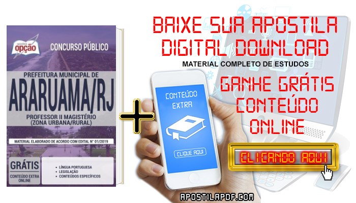 Baixar Apostila Concurso Prefeitura de Araruama 2019 PDF Professor II Magistério