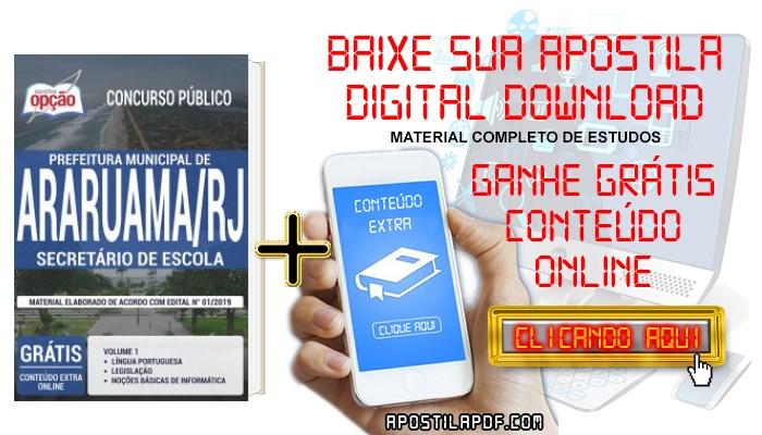 Baixar Apostila Concurso Prefeitura de Araruama 2019 PDF Secretário de Escola