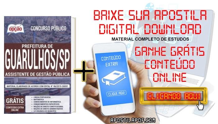Baixar Apostila Prefeitura de Guarulhos 2019 PDF Assistente de Gestão Pública