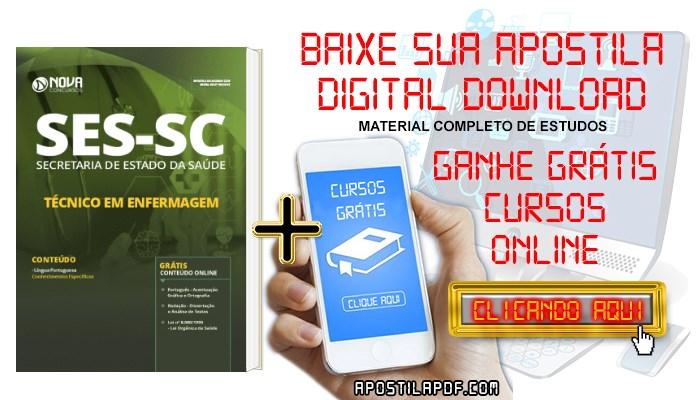 Baixar Apostila Concurso SES SC 2019 Técnico em Enfermagem PDF Grátis Cursos Online