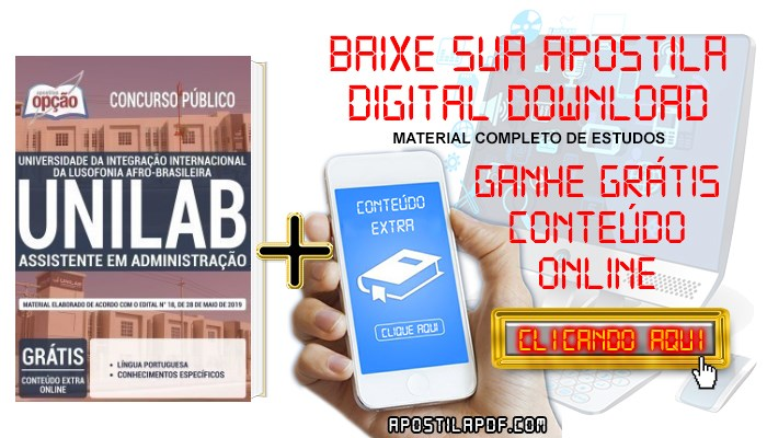 Baixar Apostila Concurso UNILAB 2019 PDF Assistente em Administração
