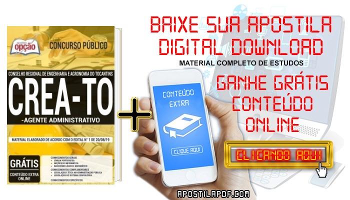 Apostila Concurso CREA TO 2019 PDF e Impressa Agente Administrativo