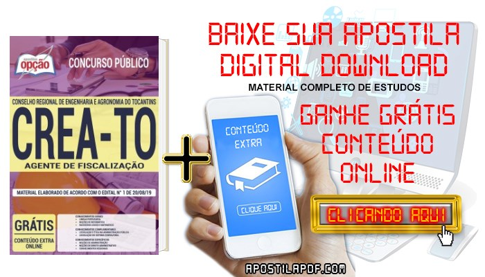 Baixar Apostila Concurso CREA TO 2019 PDF Agente de Fiscalização