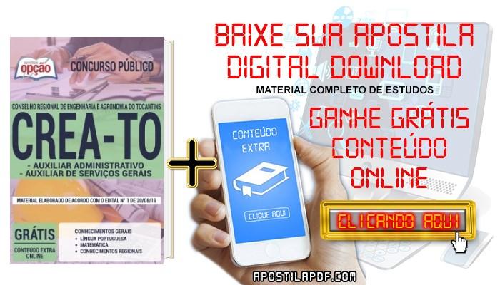 Baixar Apostila Concurso CREA TO 2019 PDF Auxiliar Administrativo e Auxiliar de Serviços Gerais