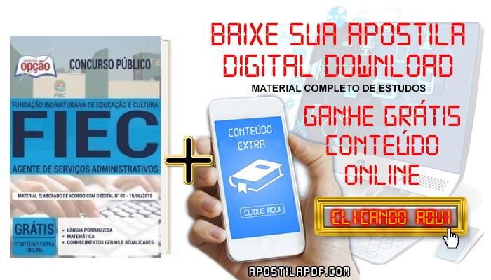 Baixar Apostila Concurso FIEC 2019 PDF Agente de Serviços Administrativos