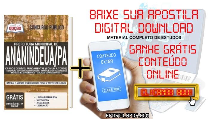 Baixar Apostila Concurso Prefeitura de Ananindeua 2019 PDF Cargos de Nível Fundamental
