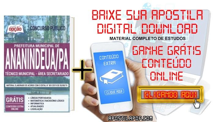 Baixar Apostila Prefeitura de Ananindeua 2019 PDF Secretariado