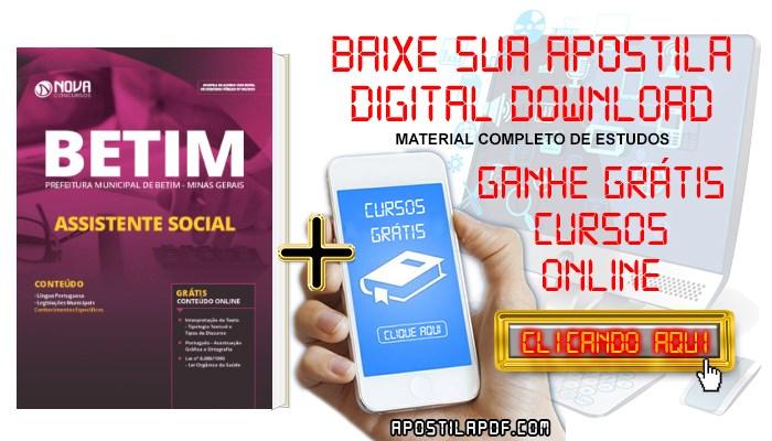 Baixar Apostila Concurso Prefeitura de Betim 2019 Assistente Social PDF Grátis Cursos Online