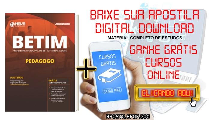 Baixar Apostila Concurso Prefeitura de Betim 2019 Pedagogo PDF Grátis Cursos Online