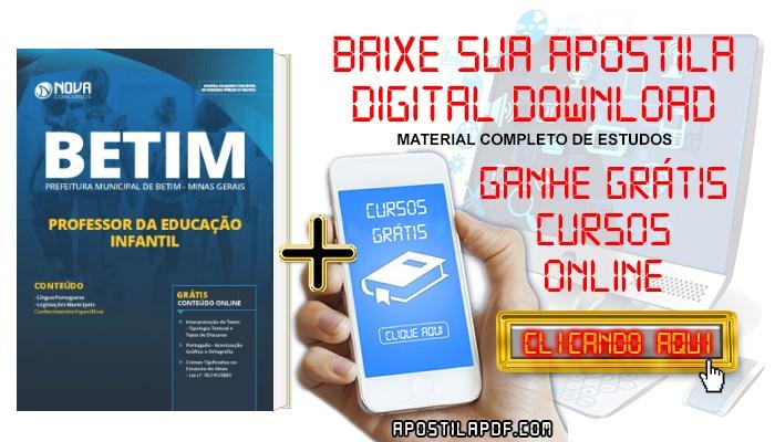 Baixar Apostila Concurso Prefeitura de Betim 2019 Professor da Educação Infantil PDF Grátis Cursos Online