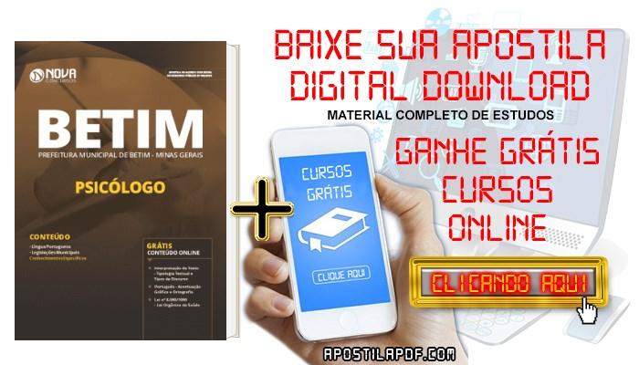 Baixar Apostila Concurso Prefeitura de Betim 2019 Psicólogo PDF Grátis Cursos Online