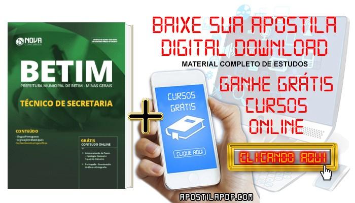 Baixar Apostila Concurso Prefeitura de Betim 2019 Técnico de Secretaria PDF Grátis Cursos Online