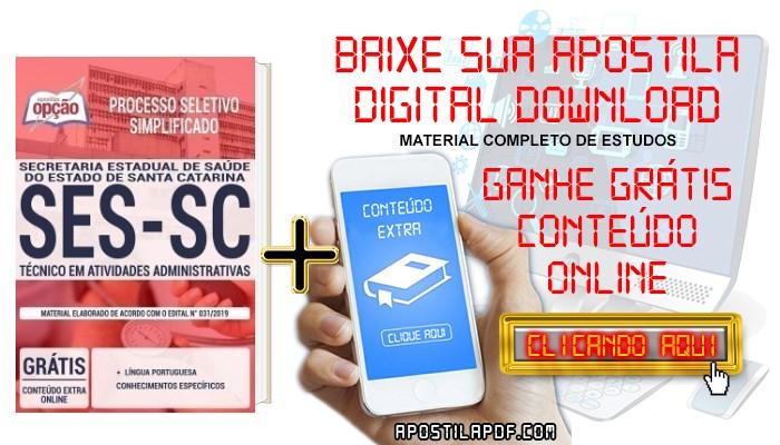 Apostila Concurso SES SC 2019 PDF Download e Impressa Técnico em Atividades Administrativas