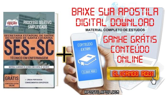 Baixar Apostila Concurso SES SC 2019 PDF Técnico em Enfermagem
