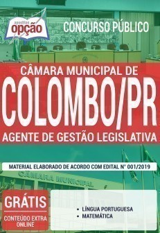 Apostila Câmara de Colombo 2019 Agente de Gestão Legislativa PDF Download Digital e Impressa