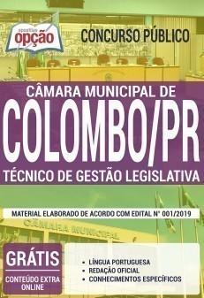 Apostila Concurso Câmara de Colombo 2019 Técnico de Gestão Legislativa PDF Download Digital e Impressa