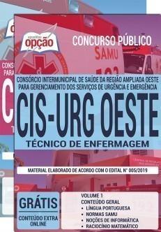 Apostila CIS URG OESTE 2019 Técnico de Enfermagem PDF Download Digital e Impressa