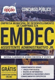 Apostila EMDEC 2019 Assistente Administrativo Jr. PDF Download Digital e Impressa
