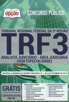 Apostila Concurso TRF 3ª Região 2019 Analista Judiciário Área Judiciária PDF e Impressa