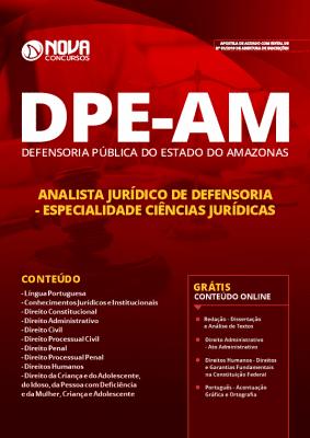 Apostila DPE AM 2019 Analista Jurídico de Defensoria - Especialidade: Ciências Jurídicas Grátis Cursos Online