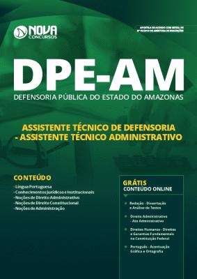 Apostila DPE AM 2019 Assistente Técnico de Defensoria ssistente Técnico Administrativo Grátis Cursos Online