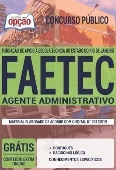 Apostila Concurso FAETEC 2019 Agente Administrativo PDF e Impressa