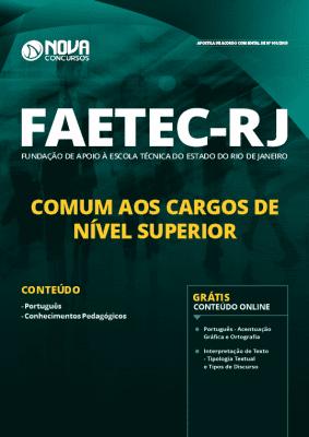 Apostila Concurso FAETEC 2019 Cargos de Nível Superior Grátis Cursos Online