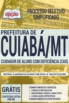Apostila Concurso Prefeitura de Cuiabá 2019 Cuidador de Aluno com Deficiência PDF e Impressa