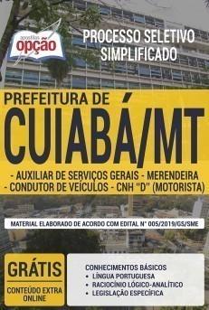Apostila Concurso SME Cuiabá 2019 Auxiliar de Serviços Gerais, Motorista e Merendeira PDF e Impressa