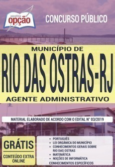 Apostila Concurso Prefeitura de Rio das Ostras 2019 Agente Administrativo PDF e Impressa