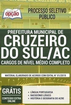 Apostila Prefeitura de Cruzeiro do Sul 2019 Cargos de Nível Médio PDF e Impressa