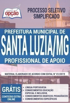 Apostila Prefeitura de Santa Luzia 2019 Profissional de Apoio PDF e Impressa