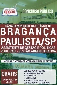 Apostila Câmara de Bragança Paulista 2020 Assistente de Gestão e Políticas Públicas Gestão Administrativa PDF e Impressa