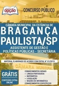 Apostila Concurso Câmara de Bragança Paulista 2019 Assistente de Gestão e Políticas Públicas Secretária